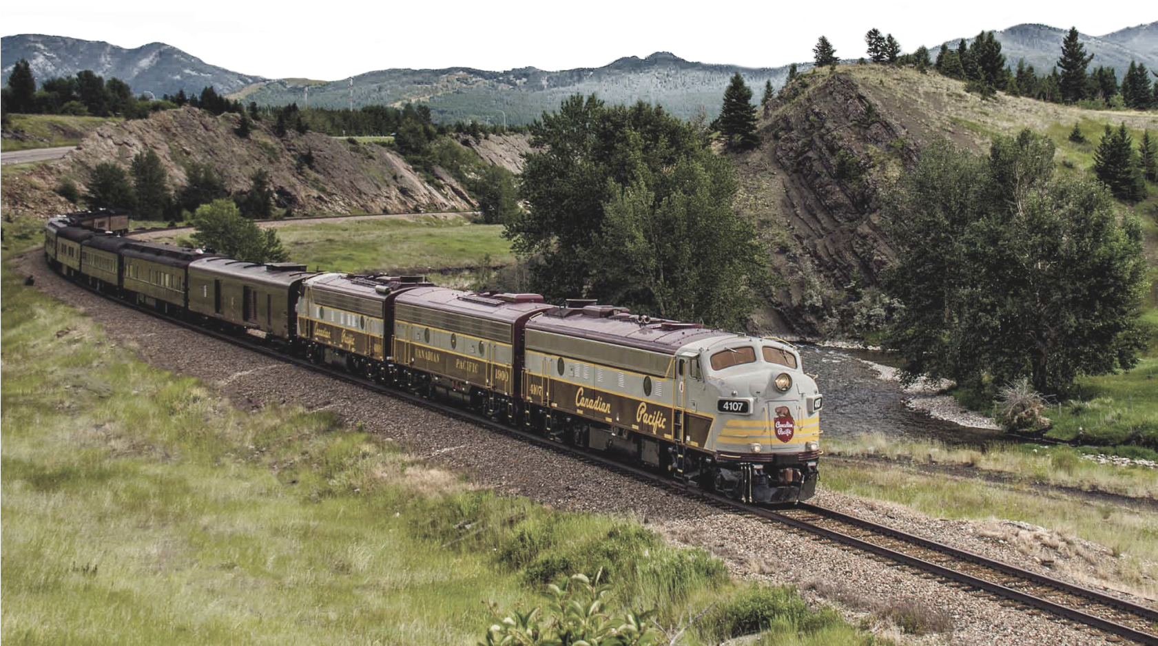 A Royal Canadian Pacific train passing by.