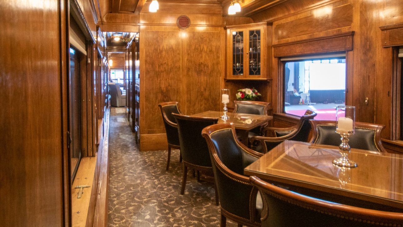 A dining area inside a train.