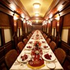 A set dinner table in a private railcar.